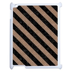 Stripes3 Black Marble & Brown Colored Pencil (r) Apple Ipad 2 Case (white)