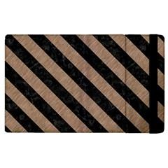Stripes3 Black Marble & Brown Colored Pencil (r) Apple Ipad 2 Flip Case