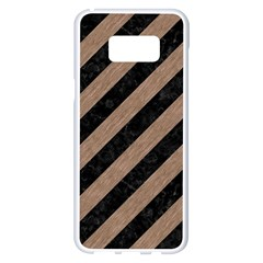 Stripes3 Black Marble & Brown Colored Pencil Samsung Galaxy S8 Plus White Seamless Case
