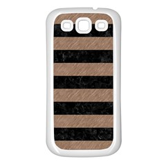 Stripes2 Black Marble & Brown Colored Pencil Samsung Galaxy S3 Back Case (white)