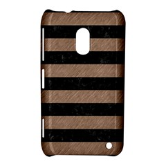 Stripes2 Black Marble & Brown Colored Pencil Nokia Lumia 620 Hardshell Case