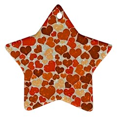 Sparkling Hearts,orange Star Ornament (two Sides)
