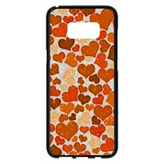 Sparkling Hearts,orange Samsung Galaxy S8 Plus Black Seamless Case