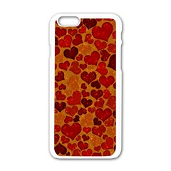 Sparkling Hearts,deep Red Apple Iphone 6/6s White Enamel Case