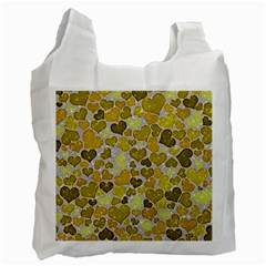 Sparkling Hearts,yellow Recycle Bag (two Side)