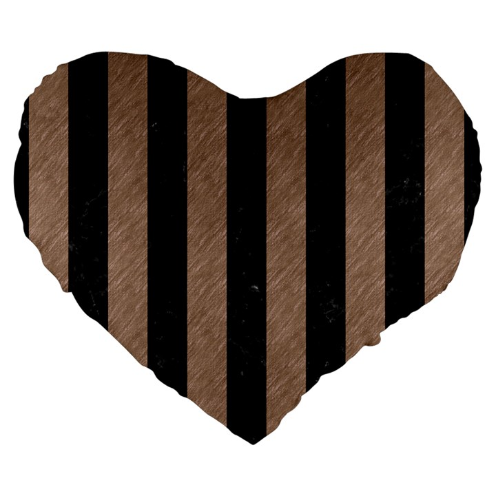 STRIPES1 BLACK MARBLE & BROWN COLORED PENCIL Large 19  Premium Flano Heart Shape Cushion