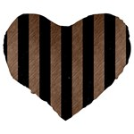 STRIPES1 BLACK MARBLE & BROWN COLORED PENCIL Large 19  Premium Flano Heart Shape Cushion Back