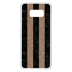Stripes1 Black Marble & Brown Colored Pencil Samsung Galaxy S8 Plus White Seamless Case