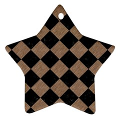 Square2 Black Marble & Brown Colored Pencil Star Ornament (two Sides)