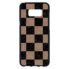 Square1 Black Marble & Brown Colored Pencil Samsung Galaxy S8 Plus Black Seamless Case