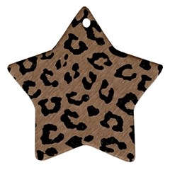 Skin5 Black Marble & Brown Colored Pencil Star Ornament (two Sides)