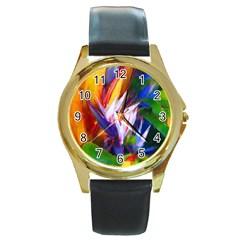 Palms02 Round Gold Metal Watch