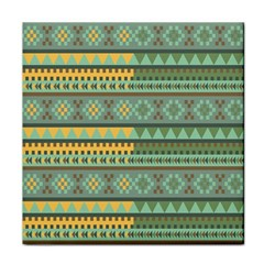 Bezold Effect Traditional Medium Dimensional Symmetrical Different Similar Shapes Triangle Green Yel Face Towel