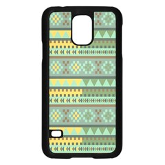 Bezold Effect Traditional Medium Dimensional Symmetrical Different Similar Shapes Triangle Green Yel Samsung Galaxy S5 Case (black)