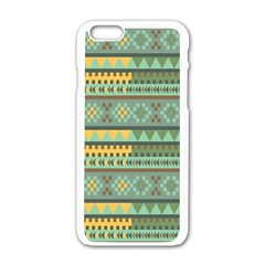 Bezold Effect Traditional Medium Dimensional Symmetrical Different Similar Shapes Triangle Green Yel Apple Iphone 6/6s White Enamel Case