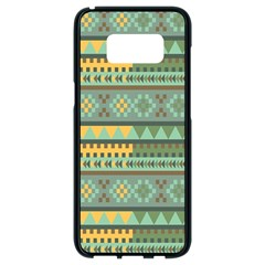 Bezold Effect Traditional Medium Dimensional Symmetrical Different Similar Shapes Triangle Green Yel Samsung Galaxy S8 Black Seamless Case