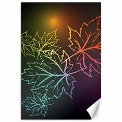 Beautiful Maple Leaf Neon Lights Leaves Marijuana Canvas 12  X 18