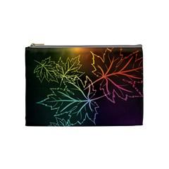 Beautiful Maple Leaf Neon Lights Leaves Marijuana Cosmetic Bag (medium)