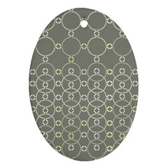 Circles Grey Polka Oval Ornament (two Sides)