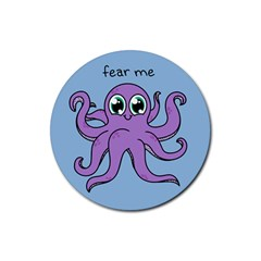 Colorful Cartoon Octopuses Pattern Fear Animals Sea Purple Rubber Round Coaster (4 Pack)