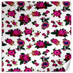 Crown Red Flower Floral Calm Rose Sunflower White Canvas 12  X 12