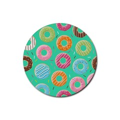 Doughnut Bread Donuts Green Rubber Round Coaster (4 Pack)