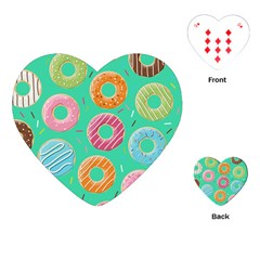 Doughnut Bread Donuts Green Playing Cards (heart)