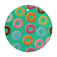 Doughnut Bread Donuts Green Round Ornament (two Sides)