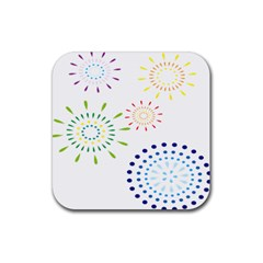 Fireworks Illustrations Fire Partty Polka Rubber Square Coaster (4 Pack)
