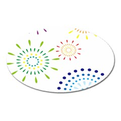 Fireworks Illustrations Fire Partty Polka Oval Magnet
