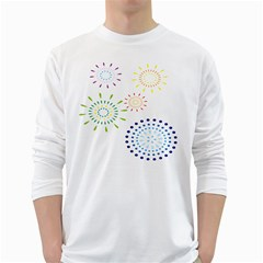 Fireworks Illustrations Fire Partty Polka White Long Sleeve T Shirts