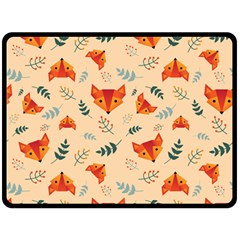 Foxes Animals Face Orange Double Sided Fleece Blanket (large)