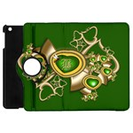 Green and Gold Hearts with Behrman B and Bee Apple iPad Mini Flip 360 Case Front