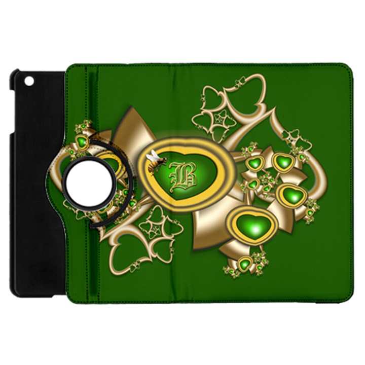 Green and Gold Hearts with Behrman B and Bee Apple iPad Mini Flip 360 Case