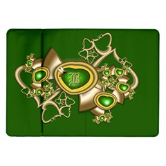 Green And Gold Hearts With Behrman B And Bee Samsung Galaxy Tab 10 1  P7500 Flip Case