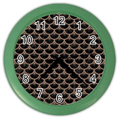 Scales3 Black Marble & Brown Colored Pencil Color Wall Clock