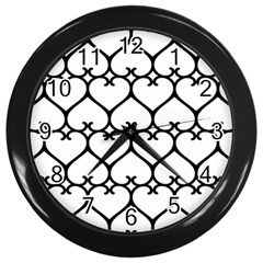 Heart Background Wire Frame Black Wireframe Wall Clocks (black)