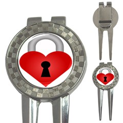 Heart Padlock Red Love 3 In 1 Golf Divots