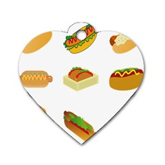 Hot Dog Buns Sauce Bread Dog Tag Heart (one Side)