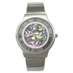 Dragonfly Animals Dragom Monster Fair Cloud Circle Polka Stainless Steel Watch