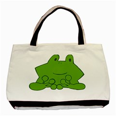 Illustrain Frog Animals Green Face Smile Basic Tote Bag (two Sides)