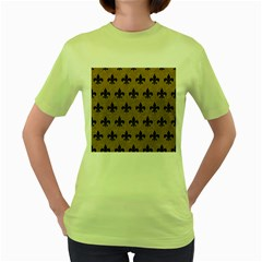 Royal1 Black Marble & Brown Colored Pencil Women s Green T Shirt