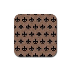 Royal1 Black Marble & Brown Colored Pencil Rubber Square Coaster (4 Pack)