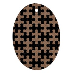 Puzzle1 Black Marble & Brown Colored Pencil Oval Ornament (two Sides)