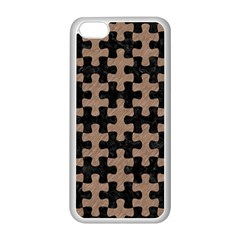 Puzzle1 Black Marble & Brown Colored Pencil Apple Iphone 5c Seamless Case (white)
