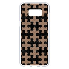 Puzzle1 Black Marble & Brown Colored Pencil Samsung Galaxy S8 Plus White Seamless Case