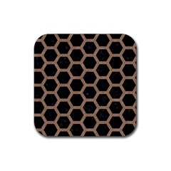 Hexagon2 Black Marble & Brown Colored Pencil Rubber Square Coaster (4 Pack)