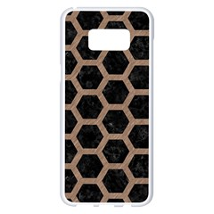 Hexagon2 Black Marble & Brown Colored Pencil Samsung Galaxy S8 Plus White Seamless Case