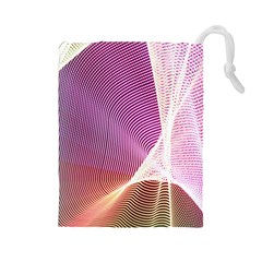 Light Means Net Pink Rainbow Waves Wave Chevron Drawstring Pouches (large)