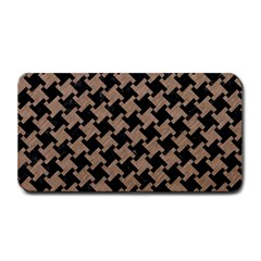 Houndstooth2 Black Marble & Brown Colored Pencil Medium Bar Mat
